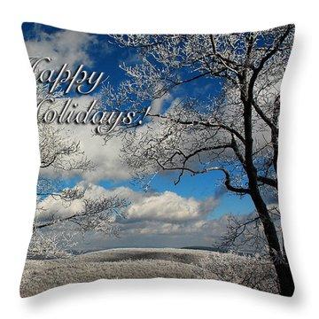 My Sunday Happy Holidays Card Throw Pillow by Lois Bryan