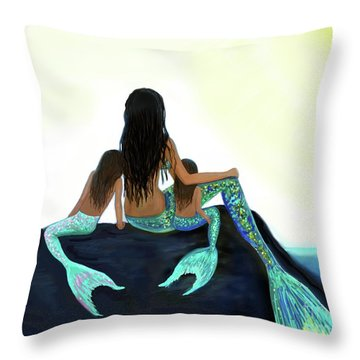 Throw Pillow featuring the painting My Sunshine Girls by Leslie Allen