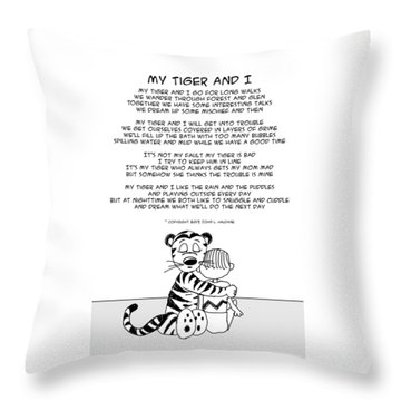 Throw Pillow featuring the drawing My Tiger And I by John Haldane
