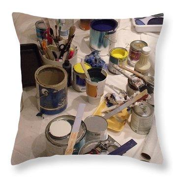 My Tools Throw Pillow by Anna Villarreal Garbis