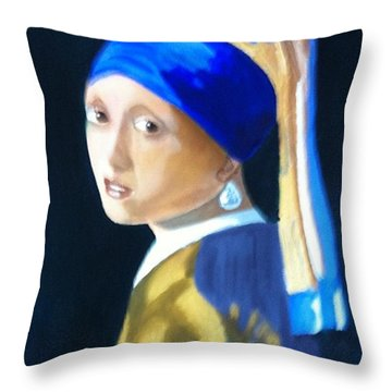 My Version-girl With The Pearl Earring Throw Pillow by Rod Jellison