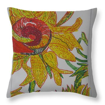 Throw Pillow featuring the drawing My Version Of A Van Gogh Sunflower by AJ Brown