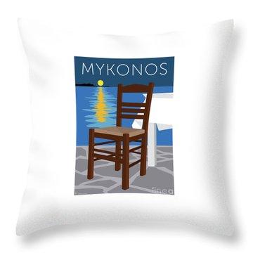 Throw Pillow featuring the digital art Mykonos Empty Chair - Blue by Sam Brennan