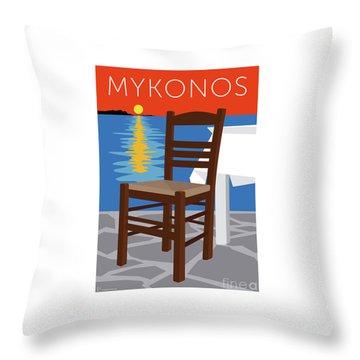Throw Pillow featuring the digital art Mykonos Empty Chair - Orange by Sam Brennan