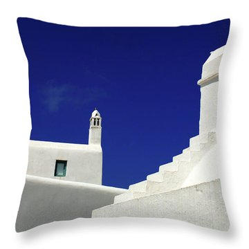 Throw Pillow featuring the photograph Mykonos Greece Architectual Line 5 by Bob Christopher