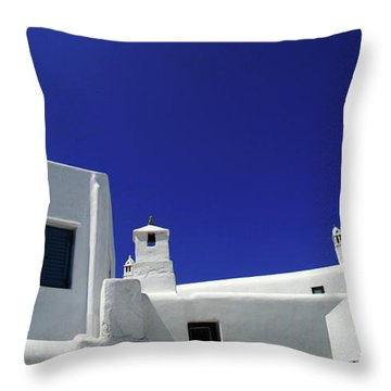 Throw Pillow featuring the photograph Mykonos Greece Clean Line Architecture by Bob Christopher