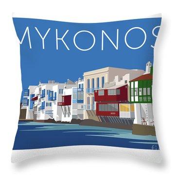 Mykonos Little Venice - Blue Throw Pillow