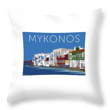 Mykonos Little Venice - Blue Throw Pillow