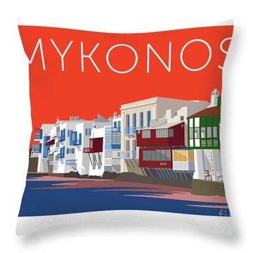 Mykonos Little Venice - Orange Throw Pillow