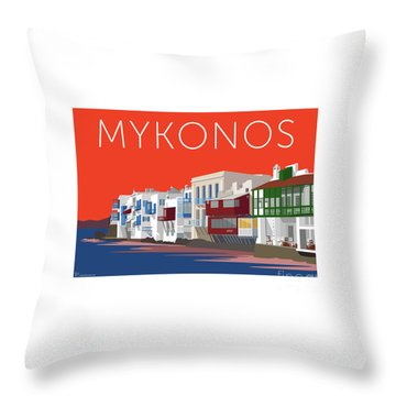 Mykonos Little Venice - Orange Throw Pillow