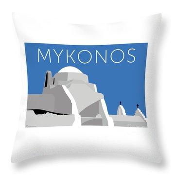 Mykonos Paraportiani - Blue Throw Pillow