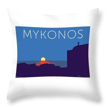 Mykonos Sunset Silhouette - Blue Throw Pillow
