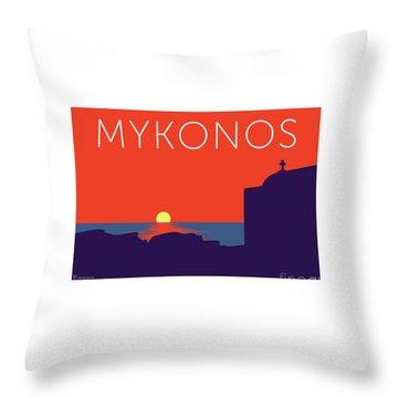 Mykonos Sunset Silhouette - Orange Throw Pillow