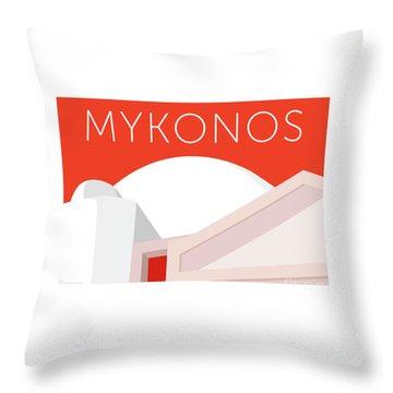 Throw Pillow featuring the digital art Mykonos Walls - Orange by Sam Brennan