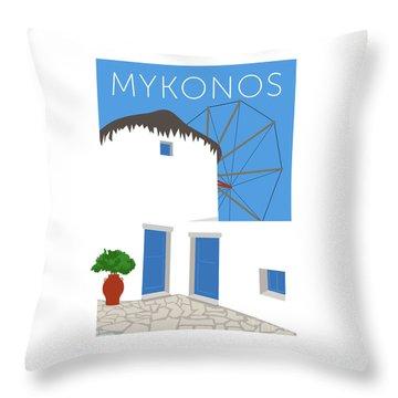 Throw Pillow featuring the digital art Mykonos Windmill - Blue by Sam Brennan