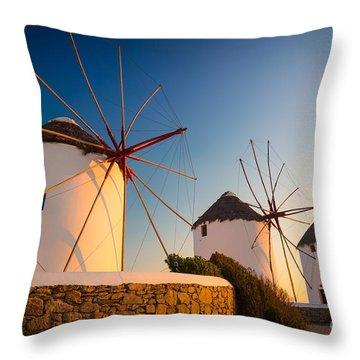 Mykonos Windmills Throw Pillow