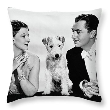 Myrna Loy Asta William Powell Publicity Photo The Thin Man 1936 Throw Pillow