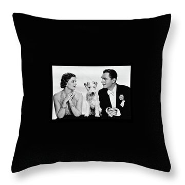 Myrna Loy Asta William Powell Publicity Photo The Thin Man 1936 Throw Pillow by David Lee Guss