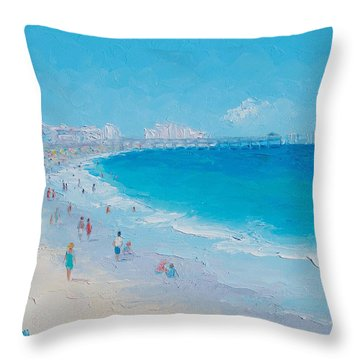Myrtle Beach And Springmaid Pier Throw Pillow