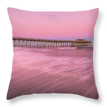 Throw Pillow featuring the photograph Myrtle Beach Fishing Pier At Sunset Panorama by Ranjay Mitra
