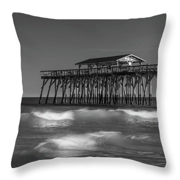 Throw Pillow featuring the photograph Myrtle Beach Pier Panorama In Black And White by Ranjay Mitra