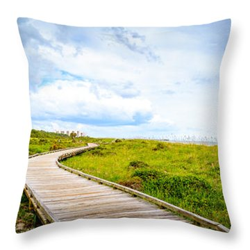 Myrtle Beach State Park Boardwalk Throw Pillow