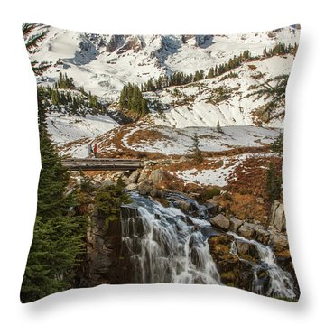 Myrtle Falls, Mt Rainier Throw Pillow