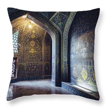 Mysterious Corridor In Persian Mosque Throw Pillow