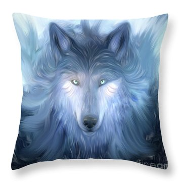 Mysterious Wolf Hand Painted Throw Pillow by Heinz G Mielke