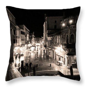 Mysterious Venice Monochrom Throw Pillow