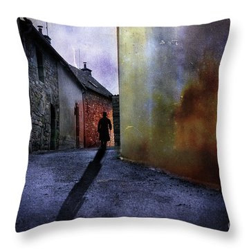 Throw Pillow featuring the mixed media Mystery Corner by Jim  Hatch