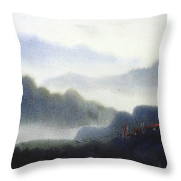 Throw Pillow featuring the painting Mystery Himalaya  by Samiran Sarkar