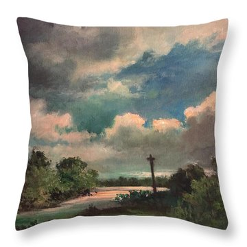 Throw Pillow featuring the painting Mystery Of God  The Eye Of God by Randol Burns