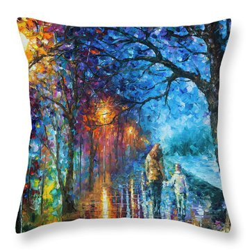 Mystery Of The Night Throw Pillow by Leonid Afremov