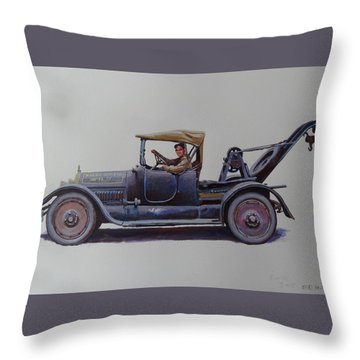 Throw Pillow featuring the painting Mystery Wrecker 1930. by Mike  Jeffries