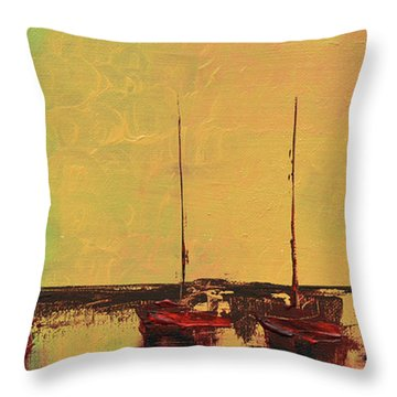 Mystic Bay Triptych 2 Of 3 Throw Pillow