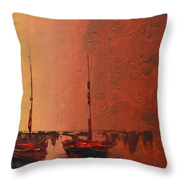 Mystic Bay Triptych 3 Of 3 Throw Pillow