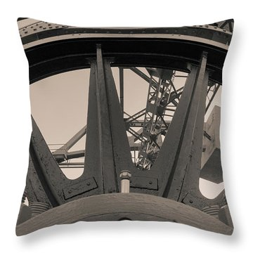 Throw Pillow featuring the photograph Mystic Bridge Gear In Mystic Ct by Kirkodd Photography Of New England