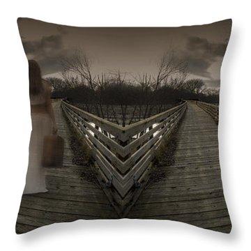 Mystic Bridge In A Dream World Throw Pillow