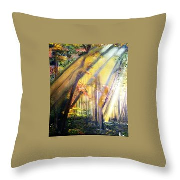 Throw Pillow featuring the painting Mystic Forest Black Forest Germany by Debbie