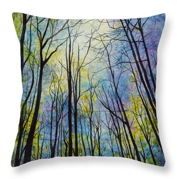 Throw Pillow featuring the painting Mystic Forest by Hailey E Herrera