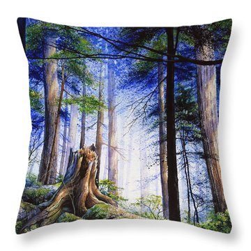 Mystic Forest Majesty Throw Pillow by Hanne Lore Koehler