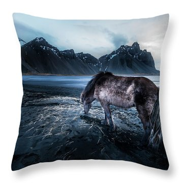 Mystic Icelandic Horse Throw Pillow