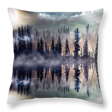 Throw Pillow featuring the mixed media Mystic Lake by Gabriella Weninger - David