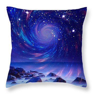 Throw Pillow featuring the mixed media Mystic Lights by Gabriella Weninger - David