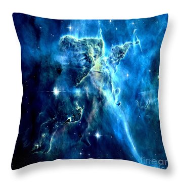 Mystic Mountain Blue Throw Pillow