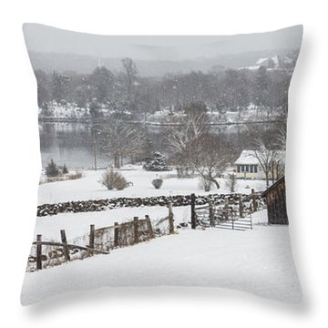 Mystic River Winter Landscape Throw Pillow