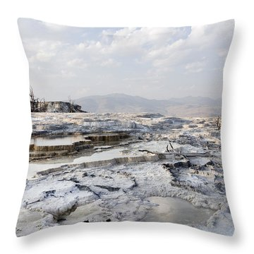 Mystic Scene From The Lower Terrace In Yellowstone National Park Throw Pillow