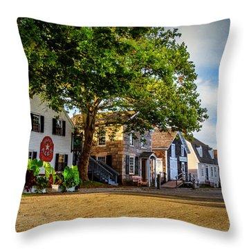 Mystic Seaport Village Throw Pillow