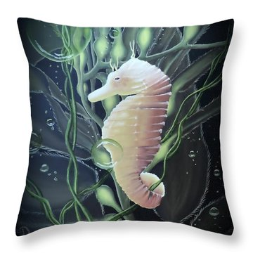 Throw Pillow featuring the painting Mystical Sea Horse by Dianna Lewis